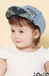 หมวกแก๊ปเด็กยีนส์ ปีกหมวกด้านในลายทหาร