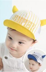 หมวกแก๊ปเด็ก ปักอักษร SUPER แต่งเขาเท่ๆ