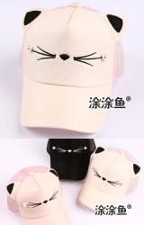 หมวกแก๊ปปักหน้าแมวน้อย แต่งหูน่ารักๆ ด้านหลังผ้าตาข่าย