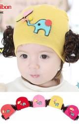 หมวกปอยผมเด็กหญิงแต่งรูปช้างและลูกโป่งรูปหัวใจ