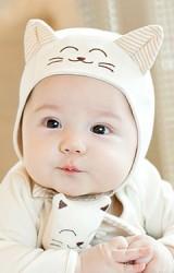 หมวกเด็กเล็กหน้าแมวน้อยและนกฮูก