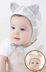 หมวกเด็กเล็กแต่งหูผ้าฝ้ายลายดาว มีสายผูกใต้คาง