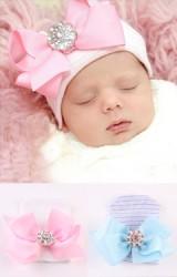 หมวกเด็กแรกเกิดสีชมพูแต่งโบว์ริบบิ้นใหญ่กระดุมเพชรเทียม