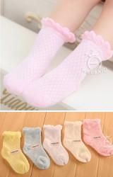 ถุงเท้าเด็กหญิงลายตารางขอบระบายน่ารัก ไม่มีกันลื่น