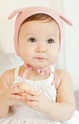 หมวกเด็กเล็กผ้ายืดสีพื้นแต่งหูน่ารักๆ