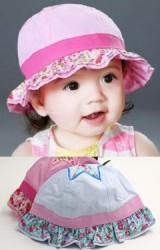 หมวกเด็กหญิงปีกหมวกระบายผ้าลายดอก