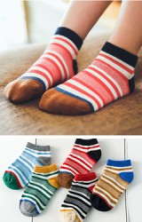ถุงเท้าเด็กแบบสั้นลายขวาง แพ็ค 5 คู่ 5 สี