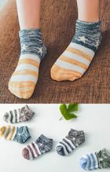 ถุงเท้าเด็กลายขวางลายดาว แพ็ค 5 คู่ 5 สี
