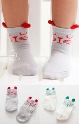 ถุงเท้าเด็กหน้าแมวแบบสั้น มีกันลื่น ยี่ห้อ kacakid