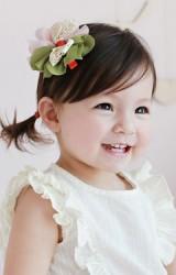 กิ๊บเด็กหญิงผ้าชีฟองเขียวและชมพูอ่อนแต่งโบว์ลูกไม้ครีม