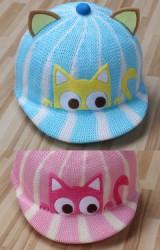 หมวกแมวแต่งหูน่ารักๆ ผ้าตาข่ายลายทาง