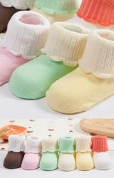 ถุงเท้าเด็กสีพื้นพับขอบต่างสี ปลายขอบหยัก