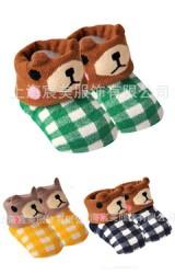 ถุงเท้าเด็กเล็ก แพ็ค 3 คู่ หน้าหมีลายสก๊อต
