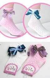 ถุงเท้าเด็กหญิงแต่งโบว์หวานแบบสั้น แพ็ค 2 คู่