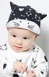 หมวกแก๊ปเด็กลายแมว ปีกหมวกโครงอ่อนพับได้