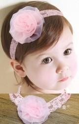 สายคาดผมดอกไม้สีชมพูหวาน สายคาดลูกไม้ยืด