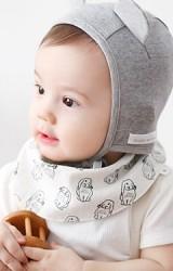 ผ้ากันเปื้อนเด็กแบบโค้ง ลายกระต่ายหูยาวและลายจุด