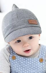 หมวกแก๊ปเด็กยอดแหลมผ้าลายตาราง