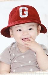 หมวกเด็กทรงบักเก็ต ผ้าลูกฝูก ปักอักษร G จาก GZMM