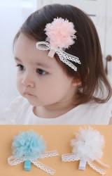 กิ๊บเด็กดอกไม้ฟูผูกโบว์สีขาว