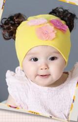 หมวกปอยผมสาวน้อย ผ้ายืดแต่งดอก 3 ดอก