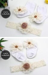 เซ็ตถุงเท้าเด็กสีขาวแต่งดอกไม้ผ้าลูกไม้ใหญ่มาพร้อมผ้าคาดผม
