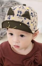 หมวกแก๊ปลายกราฟิกรูปสามเหลี่ยม ปักหน้าหนูน้อย แต่งหู