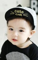 หมวกแก๊ปเด็กลายจุด ปักอักษร Cute Cat แต่งหูเล็กๆ