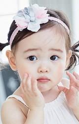 สายคาดผมเด็กหญิงสีชมพู สายยืดระบาย