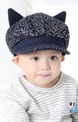 หมวกเด็กทรงนิวส์บอยผ้าประดับเลื่อม แต่งหูแมวจาก KUKUJI