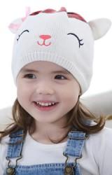 หมวกถักหมีน้อยตาหวาน แต่งโบว์ ด้านบนสีน้ำตาลและแดง