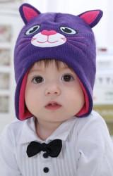 หมวกถักแมวเหมียวน่ารัก สีม่วงแต่งหูและผ้าซับสีชมพู