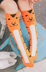 ถุงเท้าเด็กแบบยาวลายหน้าสัตว์น่ารัก เสือ แพนด้าและเจ้าตูบ