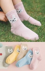 ถุงเท้าเด็กแบบสั้นแพ็ค 5 คู่ ลายกระต่าย