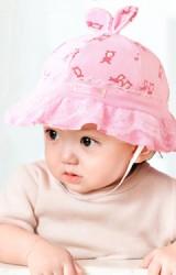 หมวกสาวน้อยลายกระต่ายคู่แม่ลูก ปีกรอบระบายสองชั้นจาก GZMM