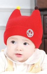 หมวกถักเด็กเล็กแต่งรูปยิ้ม มีเขาน้อยๆ จาก GZMM