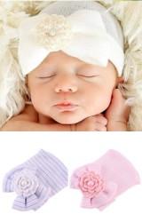 หมวกสาวน้อยแรกเกิดแต่งโบว์เพิ่มความหวานด้วยดอกไม้ถัก