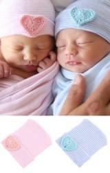 หมวกเด็กแรกเกิดแต่งหัวใจถักน่ารักๆ