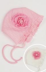หมวกเด็กหญิงผ้าหนานุ่มแต่งดอกไม้ใหญ่ชายระบายลูกไม้