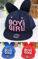 หมวกแก๊ปฮิปฮอปเด็กแต่งหูกระต่ายปักอักษร BOY GIRL
