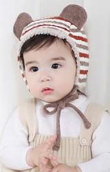 หมวกเด็กลายขวางแต่งหูน่ารักพร้อมซับในอุ่นๆ