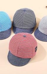 หมวกแก๊ปเด็กลายขวาง ปีกหมวกสีพื้น