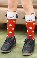 ถุงเท้าเด็กแบบยาวหน้าหมีลายจุดแต่งพู่ห้อย ไม่มีกันลื่น