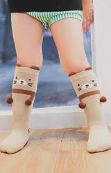 ถุงเท้าเด็กแบบยาวลายแพนด้าและแมวแต่งปอมปอมน่ารักมากๆ