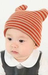 หมวกเด็กบีนนี่ลายขวาง หมวกมีเขาน่ารัก