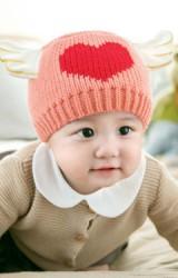 หมวกไหมพรม Angel ด้านหน้ารูปหัวใจ จาก GZMM