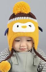 หมวกไหมพรมเด็กหน้าเพนกวิน แต่งเปียห้อยปอมปอม RIYUEHAO