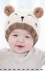 หมวกไหมพรมแมวเหมียวแต่งหูและหางกลมๆ ไหมพรมฟู