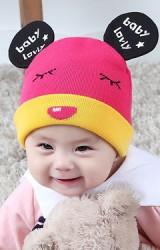 หมวกถักแต่งหูมิกกี้ สกรีนอักษร baby lovly