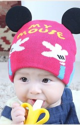 หมวกถักมิกกี้รูปมืออักษร My Mouse หมวกน่ารักใส่ได้ทั้งสองด้าน TIANYIBEAR